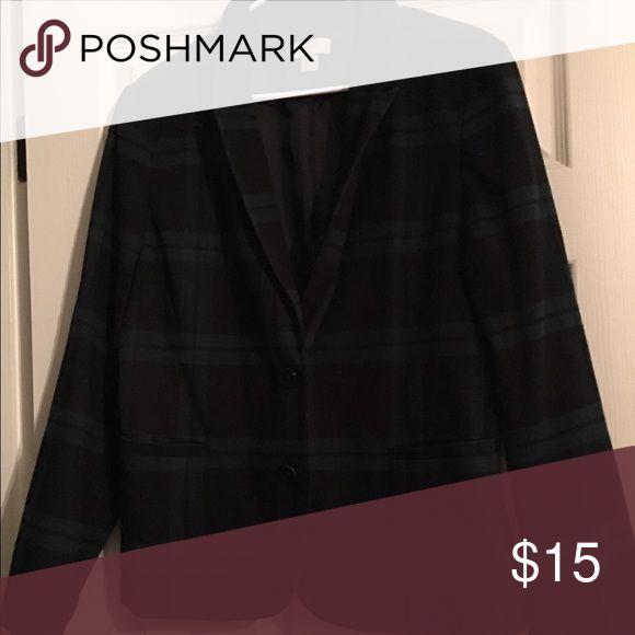 Anne Taylor Loft plaid blazer 16 Size 16! Navy and green plaid Ann Taylor Jackets & Coats Blazers