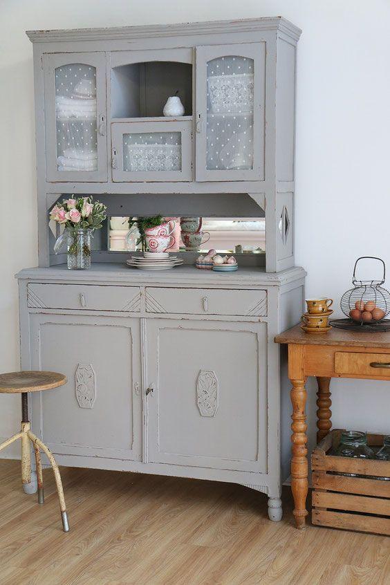 Küchenbuffet in grau, shabby chic schrank, antiker küchenschrank - designer kommoden aus holz antike