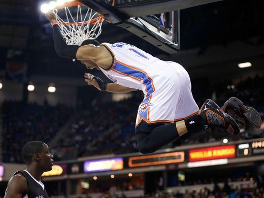 Dec 16, 2014: Thunder guard Russell Westbrook dunks
