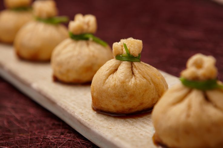 Korean Temple Food  Fried Tofu Skin and Shiitake Mushrooms Simmered in Sweet Soy Sauce