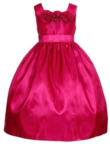 Wonder Girl Flower Girl Graduation Taffeta Tea Length Dress Fuchsia