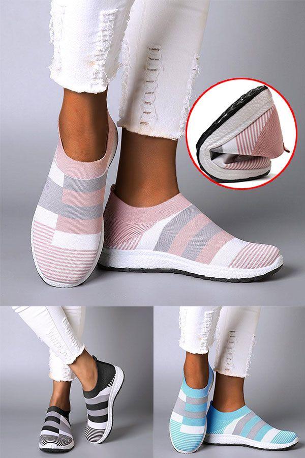 Frauen Bequeme Farbe Block Turnschuhe Slip-on Laufschuhe