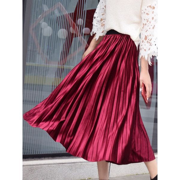 Plain Elastic Waist Velvet Pleated Maxi Skirt (105 SAR) ❤ liked on Polyvore featuring skirts, elastic waist skirt, floor length maxi skirt, long maxi skirts, purple maxi skirt and long velvet skirt
