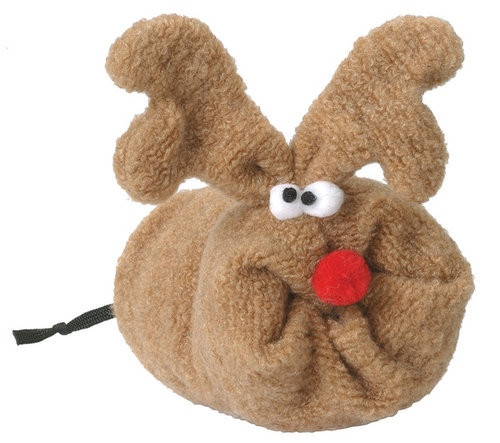 Rudy is the most popular toy for pooches this year. He is squeaky and silly.