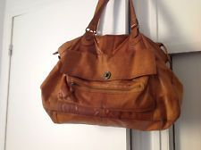 GRAND SAC A MAIN PIECES EN CUIR VINTAGE CAMEL