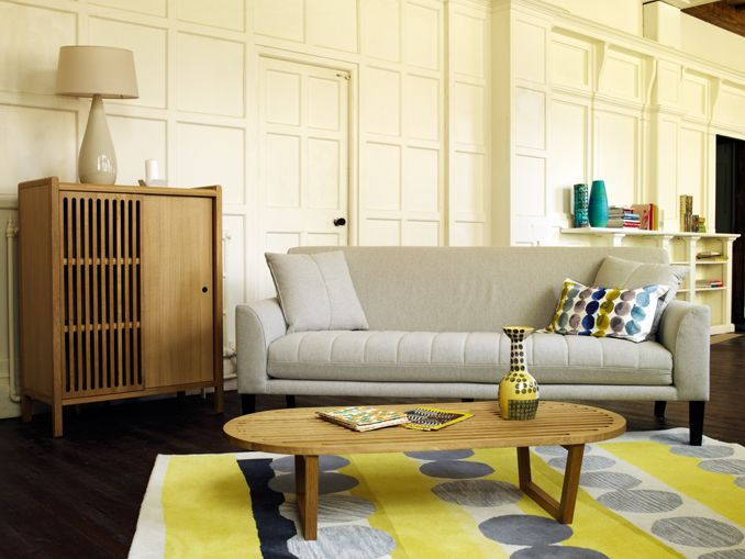 Luscious Living Room With Bun Sofa Royston Coffee Table And Cabinet Happer Yellow Rug