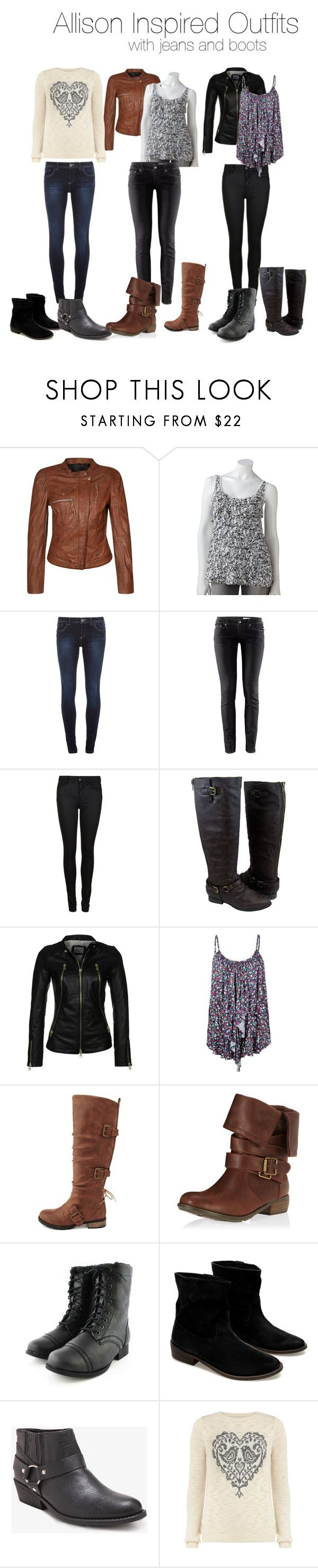 """Allison Inspired Outfits With Jeans and Boots"" by veterization ❤ liked on Polyvore featuring Freaky Nation, Apt. 9, Dorothy Perkins, H&M, Gestuz, Addition by SLY 010, Full Tilt, Charlotte Russe, Zara and Forever 21"