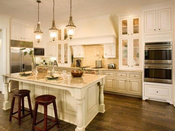 191 best kitchen images on pinterest dream kitchens - Off white cabinets with chocolate glaze ...