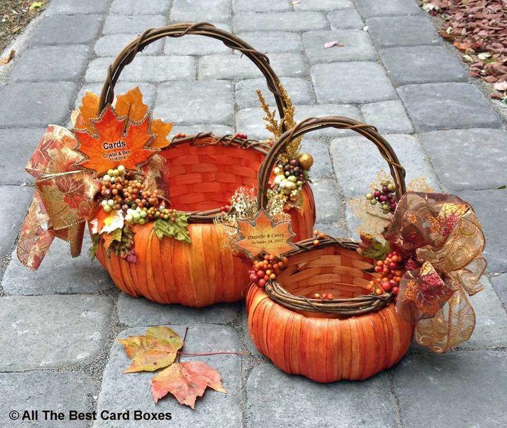 Fall Wedding Card Basket and flowergirl basket set,fall wedding decor,fall wedding bouquet,fall wedding invitation,rustic wedding,pumpkin