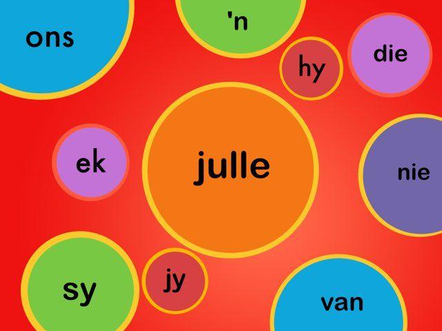 Sigwoorde deel 2: in die vorm van 'n legkaart.  Woorde in deel 2 sluit in: ek, hy, ons, jy, sy, julle, hulle, die, en, 'n, het, nie en van.