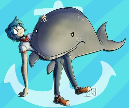 2D and the whale by Ashesfordayz