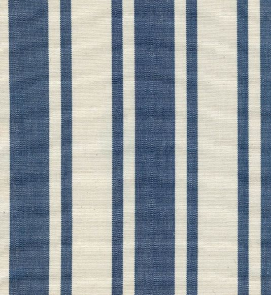 Adriatic Stripe Fabric Indigo Blue And Cream Stripe Cotton