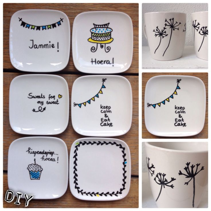 #DIY cake plates and mugs decorated with #porcelain markers | gebaksbordjes en mokken met #porselein stiften versierd. Een snelle en leuke DIY!