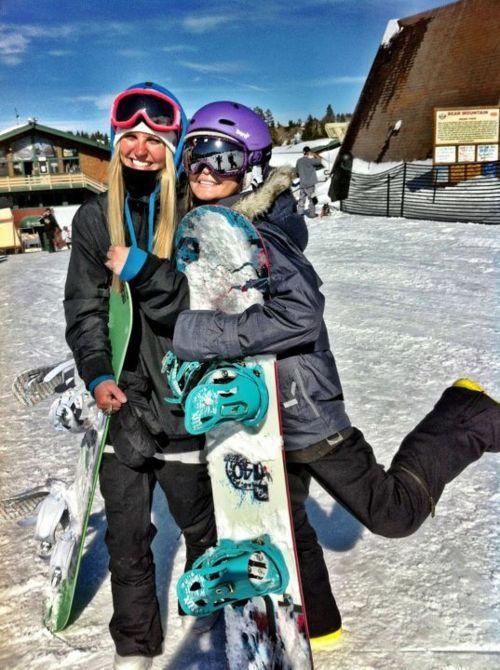 girl. snow. boarding.