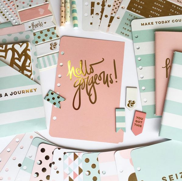 Gorgeous pastel combination of planner decorations and accessories in turquoise and baby pink.  Collaboration between Franklin Covey Planner and My Mind's Eye.