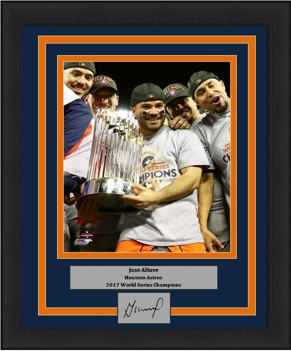 """Houston Astros 2017 World Series Champions Jose Altuve Trophy Engraved Autograph MLB Baseball 8"""" x 10"""" Framed and Matted Photo (Dynasty Signature Collection)"""