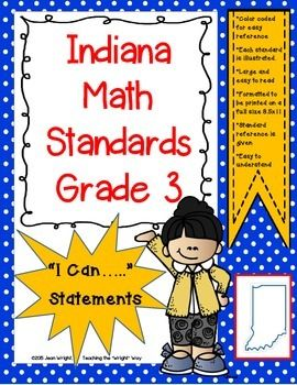"""These posters are created for Indiana Standards for 3rd grade math. They are written in the """"I can...."""" format. Written on full size pages, they may be used to post in the classroom to communicate to students what they are expected to know and be able to do."""