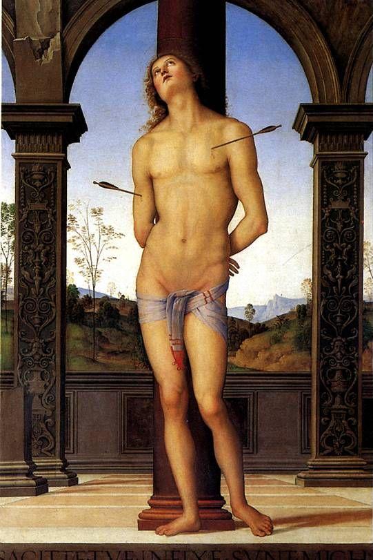 ВАННУЧЧИ ПЬЕТРО, ПРОЗВАННЫЙ ПЕРУДЖИНО. Св. Себастьян.   Читта делла Пьеве, ок. 1448 — Фонтиньяно,1523   Дерево, 176 х 116 см. Поступила в Лувр в 1896 г.