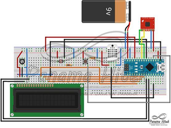 Un proyecto que consiste en un circuito medidor de condiciones ambientales como humedad, temperatura, luminosidad, presión barométrica y altura relativa