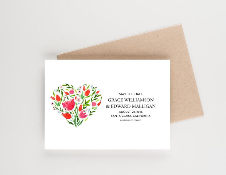 Floral Heart Save The Date, Bridal Luncheon Invitation, Bridal Shower or Wedding Announcement by seahorsebendpress on Etsy