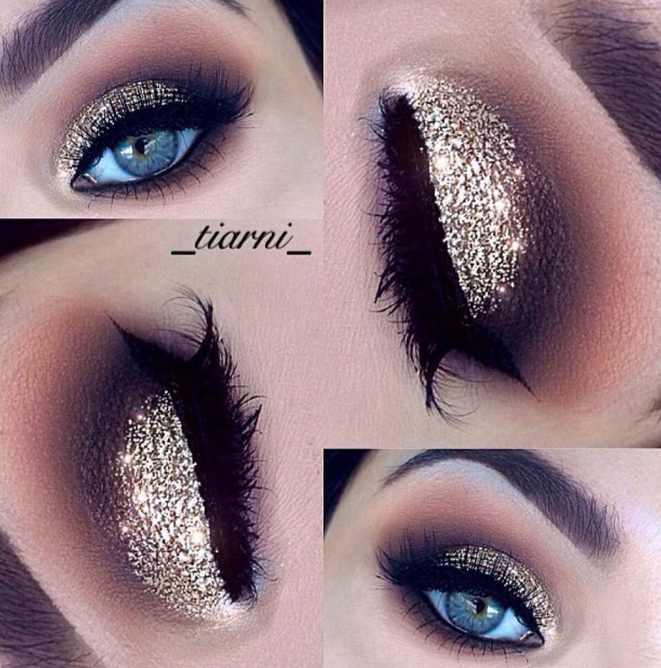 Gold, glittery eye makeup w purple