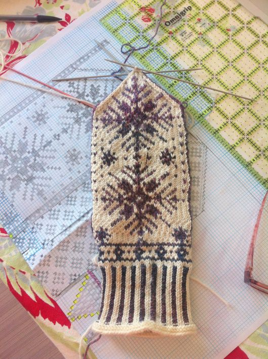 Snow Storm Nordic Mittens - no pattern, idea only