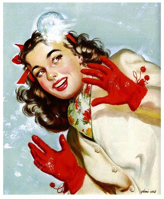 Vintage snowball fight! #1940s #winter #vintage