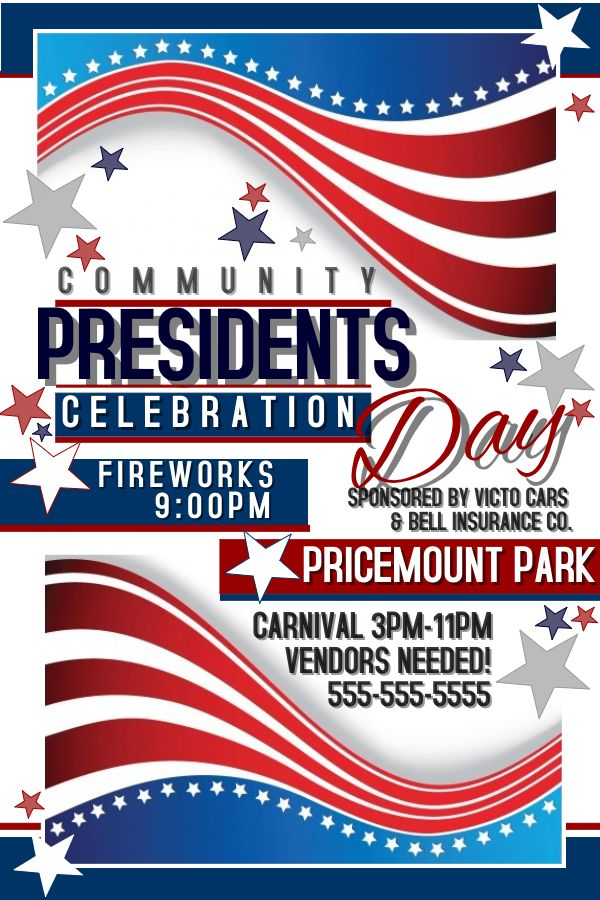 presidents day poster flyer social media template design