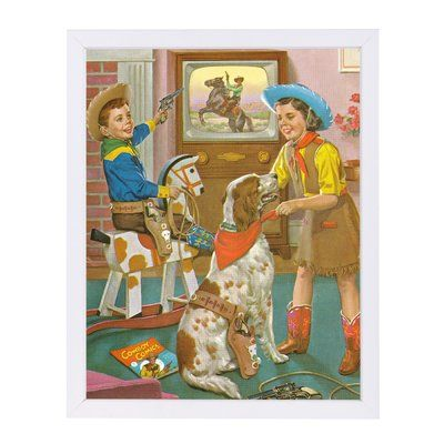 East Urban Home u0027Kids Playing Cowboy and Cowgirlu0027 Graphic Art - white paper format