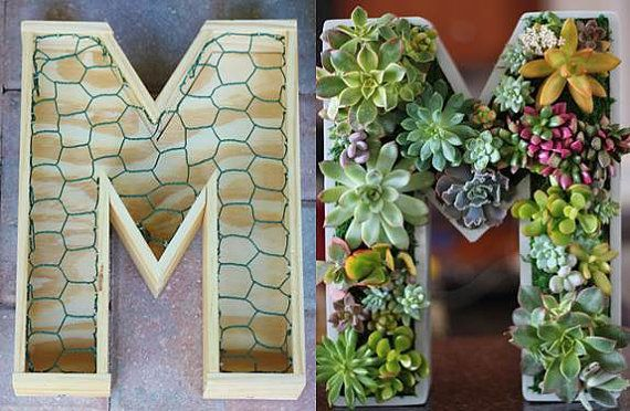 10 inch DIY Unfinished Succulent Monogrammed Initials Succulent Planter… austinweddings.com saweddings.com
