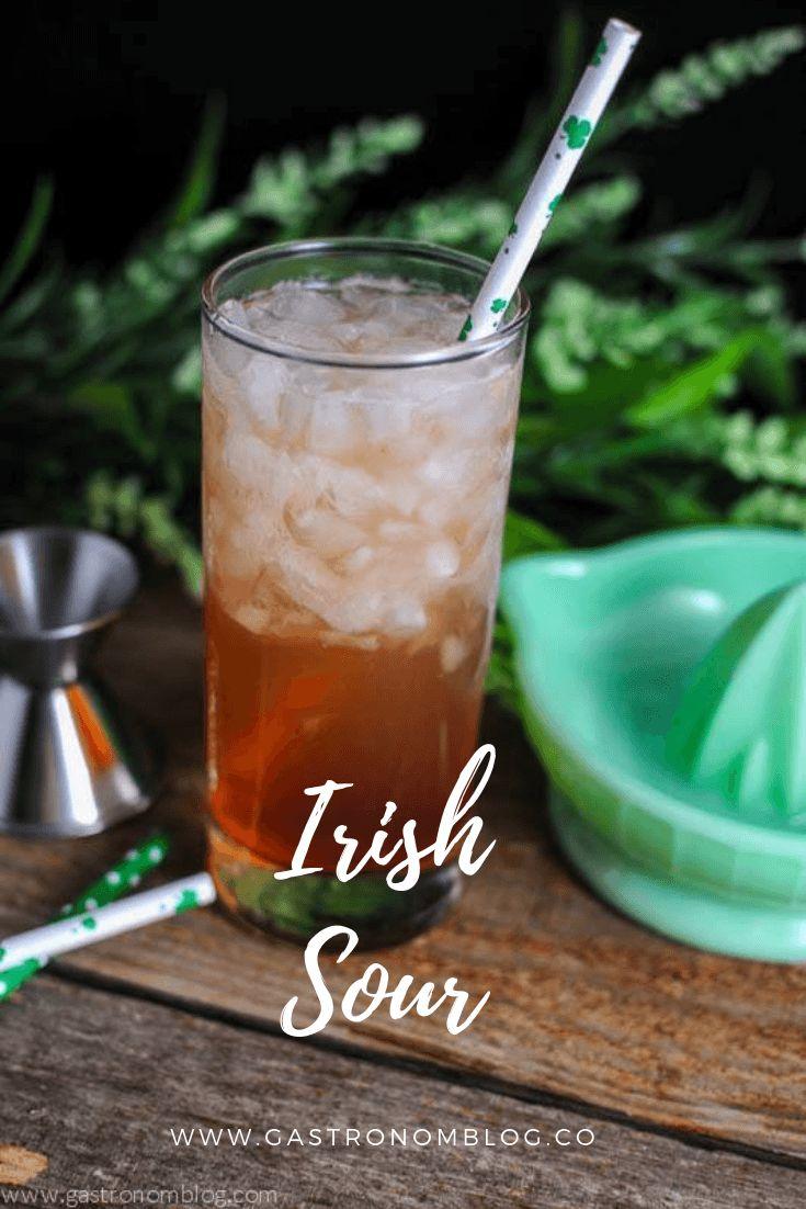 Irish Sour Cocktail – whiskey, orange bitters, simple syrup, lemon juice, grapef…