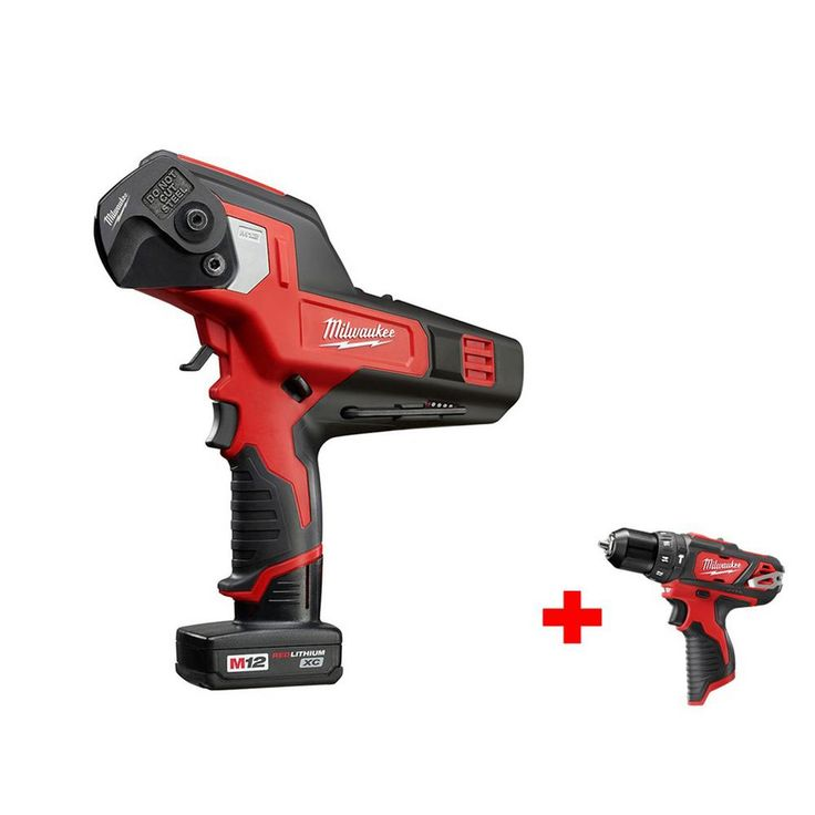 Milwaukee M12 12-Volt Lithium-Ion Cordless 600 MCM Cable Cutter Kit with Free M12 3/8 in. Hammer Drill/Driver