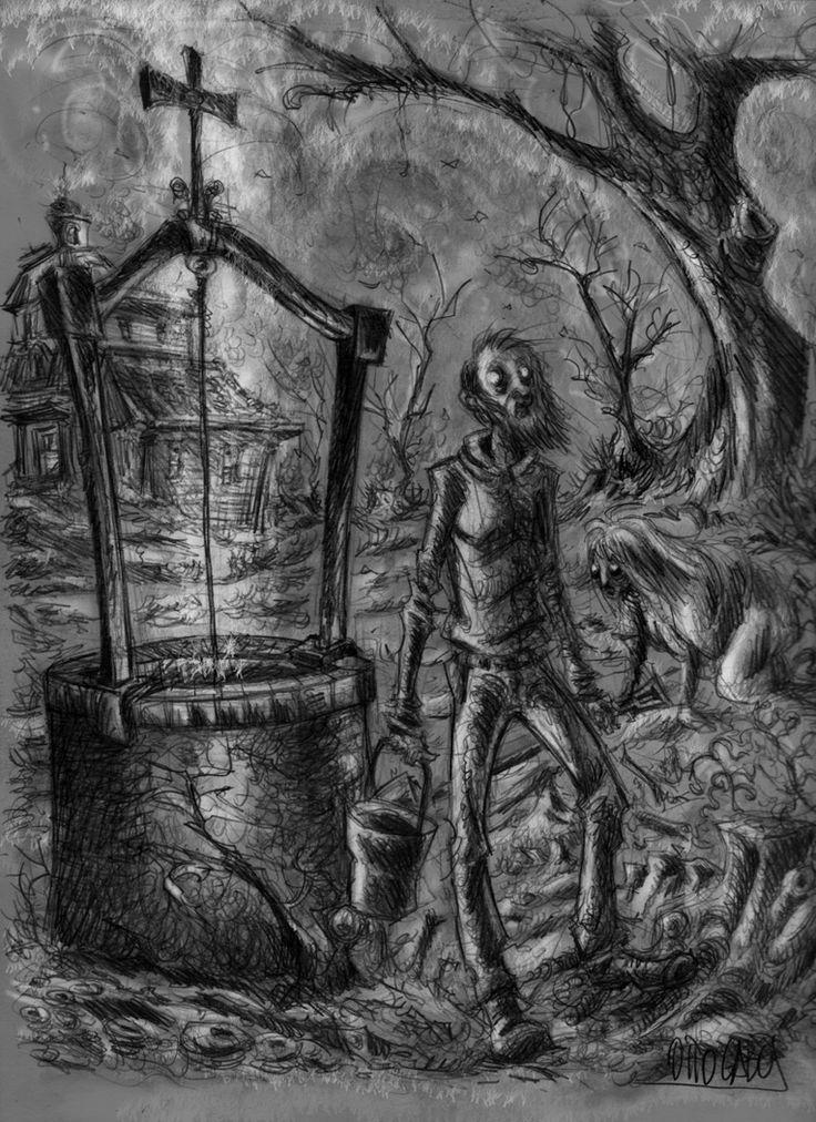 Omaggio a Lovecraft. Grafite su carta, fx.