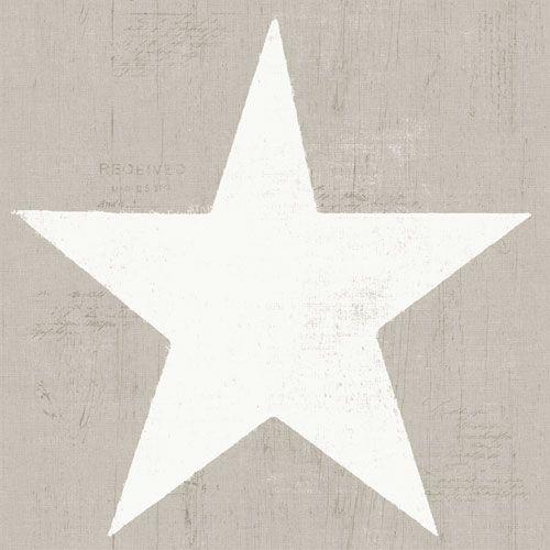 Stora vita stjärnor på beige trämönstrad botten från kollektionen Hantverk, 17324. Klicka för fler fina tapeter för ditt hem!