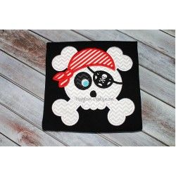 Pirate Skull Applique Design