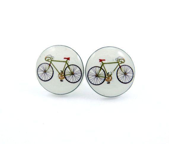 Racing Bike Bicycle Earrings.  Resin Earrings.   Racing Bike or Mountain Bike Resin Post Earrings.. $6.99, via Etsy.
