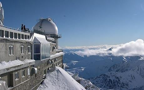 The complex on the Pic du Midi in the high Pyrenees is an astronomical observatory, from which Nasa scientists mapped the surface of the moon for the Apollo landings.  It is also open to the public, which makes it the high point of a winter sports holiday in the jumble of ancient mountains between France and Spain. Only 19 guests can be accommodated overnight, with stargazing, conducted tours of the telescopes, and gourmet dining on the menu.