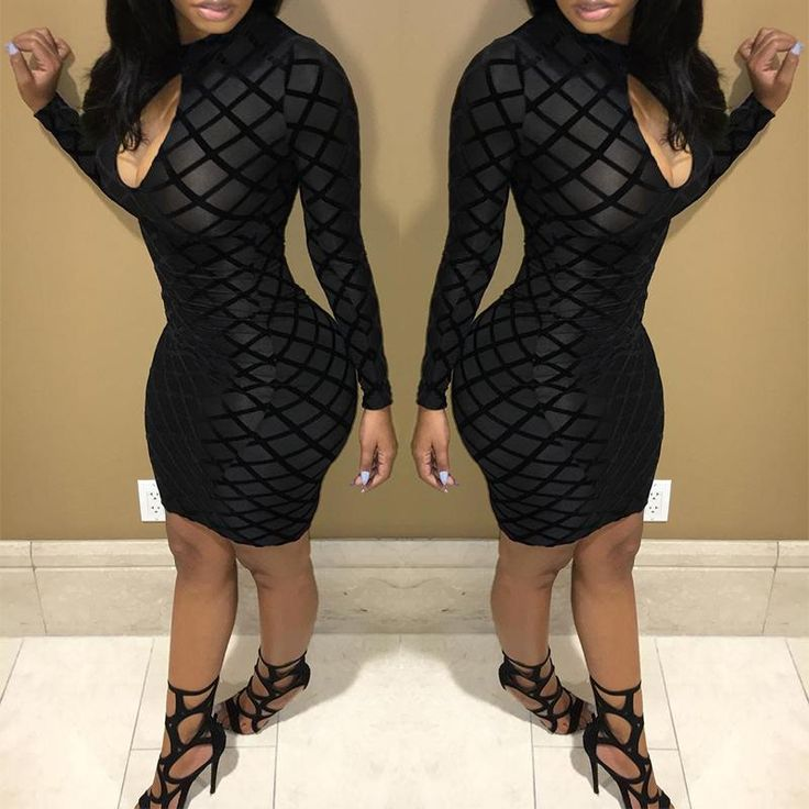 Sexy Black Cut Out Mesh Bodycon Dress