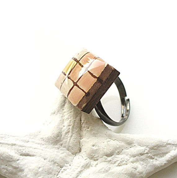 Checked Ring Pale Pink Ring Square Ring by StudioLadybird on Etsy, $20.00