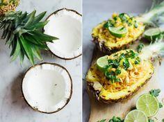 Gevulde ananassen met rijst en kokos