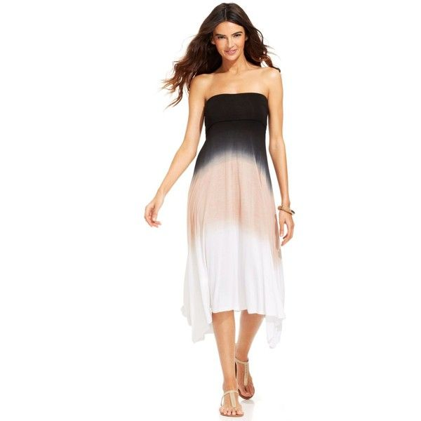 Raviya Convertible Dip-Dye Dress Cover Up Women's Swimsuit ($48) ❤ liked on Polyvore featuring swimwear, cover-ups, charcoal, swim suit cover up, crochet bathing suit cover-ups, swimming costume, bathing suit swimwear and swim suits