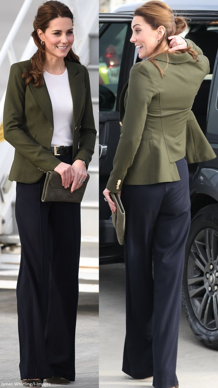 12/5/2018 – The Duchess opted for a green blazer, …