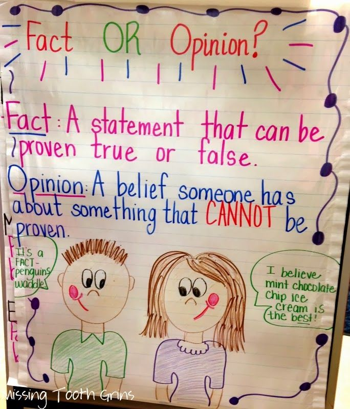 Fact vs. Opinion Anchor Chart | Writing | Pinterest