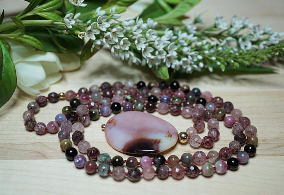 Mala necklace 108 Bead necklace Quartz  necklace Tourmaline