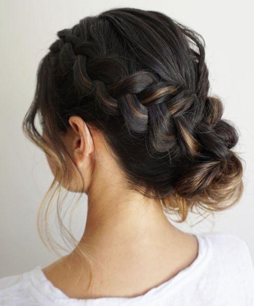 Gorgeous side braid into low updo wedding hairstyle; Featured Hairstyle: Heidi Marie Garrett