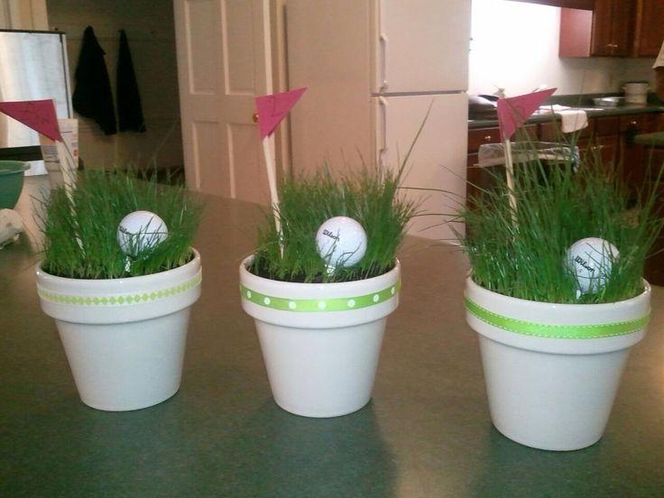 Golf ball centerpiece with real grass