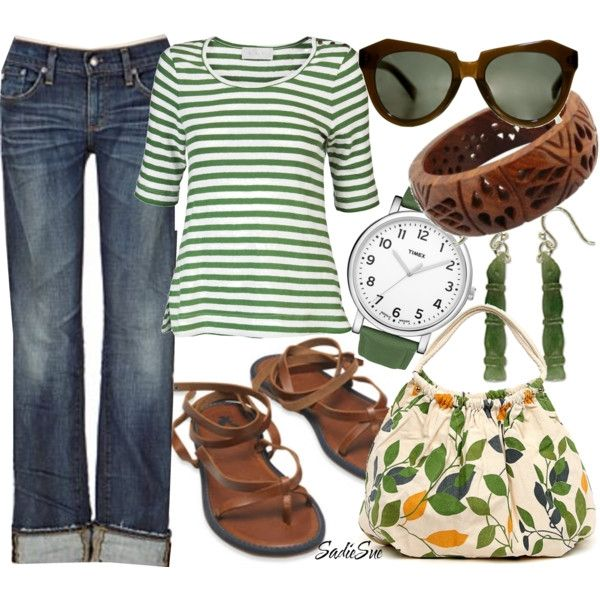 : Colors Combos, Green And Brown, Clothing, Cute Outfits, Jeans, Sandals, Green Stripes, Spring Outfits, Bags