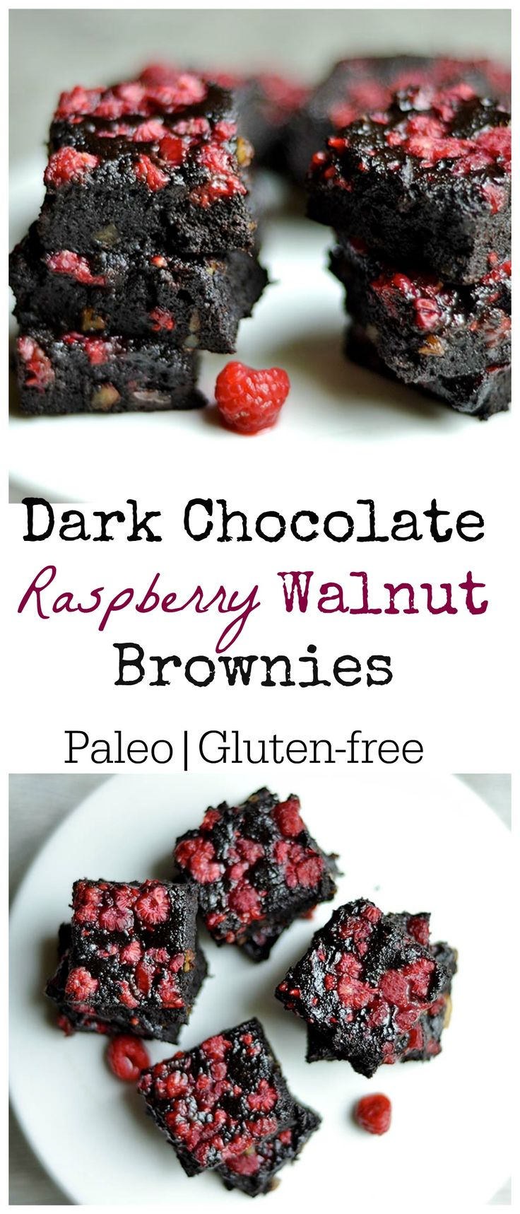 Delicious rich dark chocolate brownies with the perfect hint of raspberries! Refined sugar-free, Paleo, and GF.