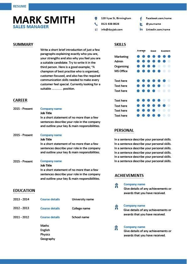 Modern Sales Manager resume templates, Outstanding designs, apply for a job