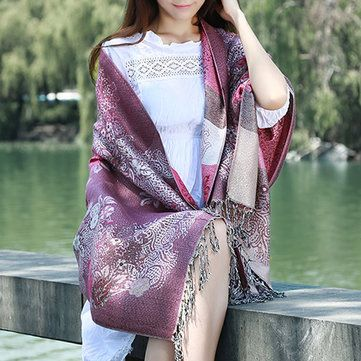Women Ladies Cashmere Imitation Chrysanthemum Peacock Cashew Bohemia Scarves Tassel Long Shawls at Banggood